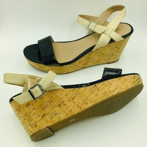 Pyper Black & Cream Cork Wedge Sandals Heels